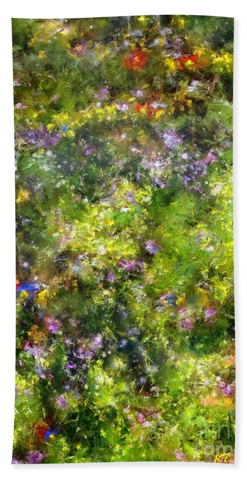 Meadow Bath Sheet featuring the painting Meadowstars In Manx by RC DeWinter