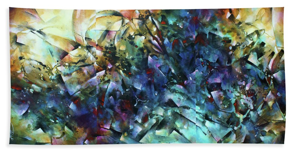 Abstract Hand Towel featuring the painting Measure Of Time by Michael Lang