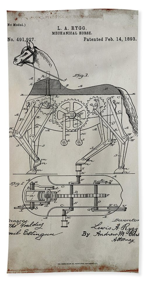 Patent Hand Towel featuring the mixed media Mechanical Horse Patent Art 1a     by Brian Reaves