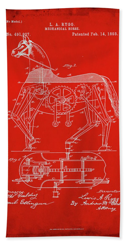 Patent Hand Towel featuring the mixed media Mechanical Horse Patent Art 1c      by Brian Reaves