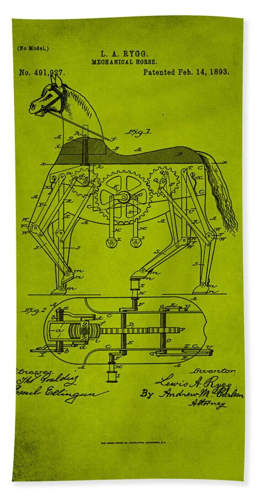 Patent Hand Towel featuring the mixed media Mechanical Horse Patent Art 1d by Brian Reaves