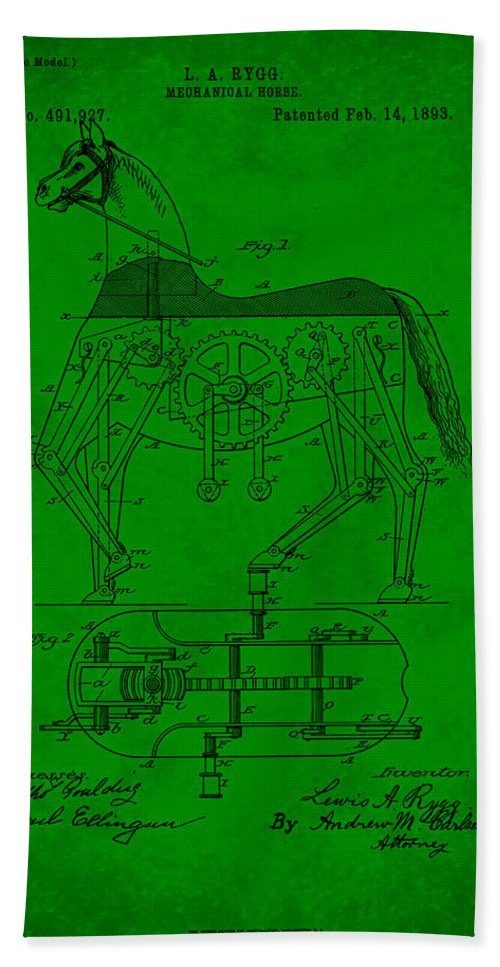 Patent Hand Towel featuring the mixed media Mechanical Horse Patent Art 1e by Brian Reaves