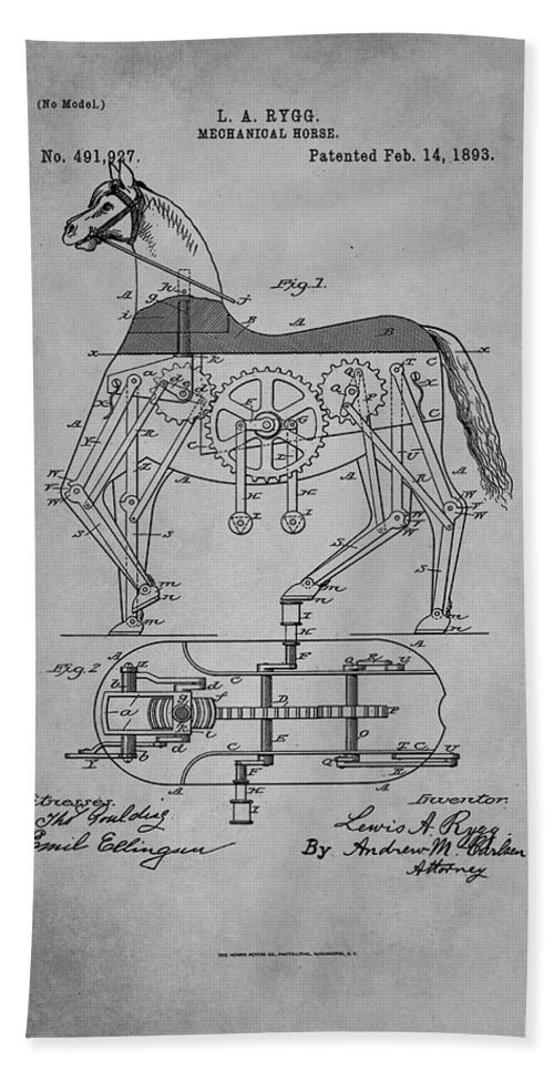 Patent Hand Towel featuring the mixed media Mechanical Horse Patent Art 1f by Brian Reaves