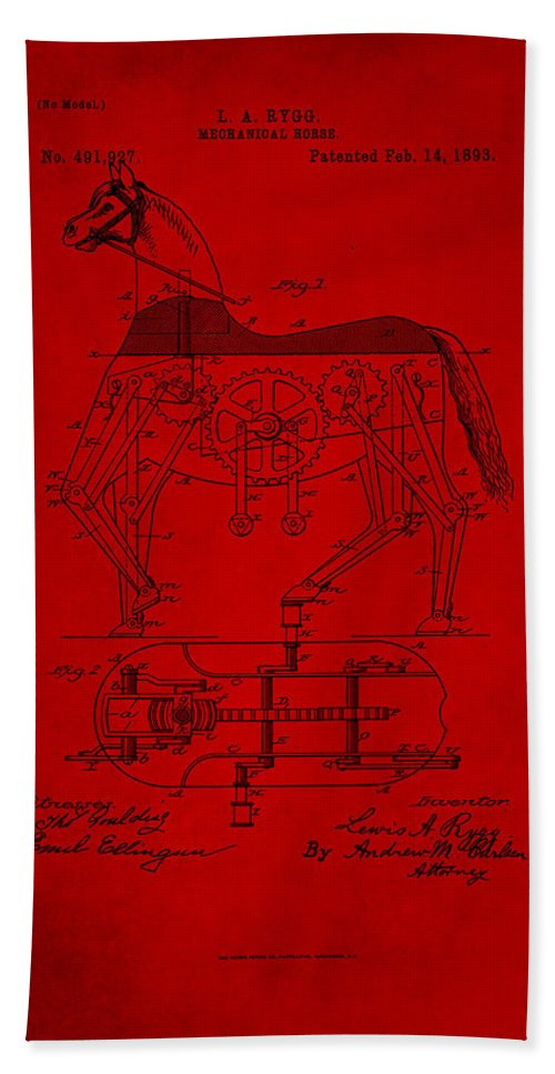 Patent Hand Towel featuring the mixed media Mechanical Horse Patent Art 1g by Brian Reaves