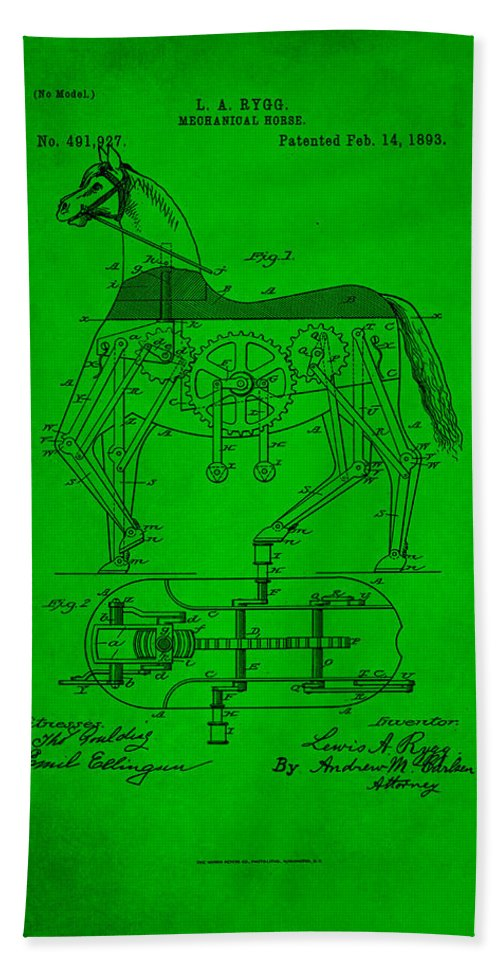 Patent Hand Towel featuring the mixed media Mechanical Horse Patent Art 1h by Brian Reaves
