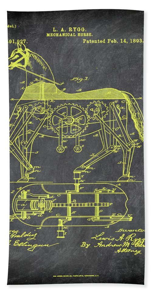 Patent Hand Towel featuring the mixed media Mechanical Horse Patent Art 1i by Brian Reaves