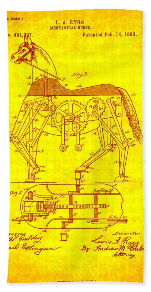 Patent Hand Towel featuring the mixed media Mechanical Horse Patent Art 1j by Brian Reaves