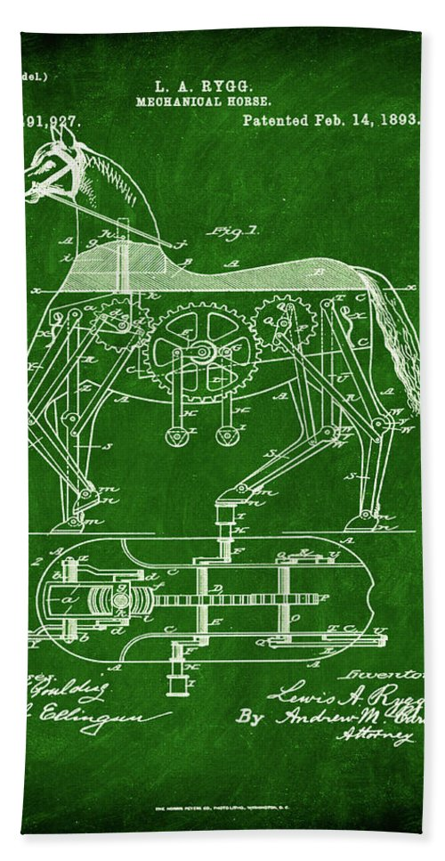Patent Hand Towel featuring the mixed media Mechanical Horse Patent Art 1k by Brian Reaves