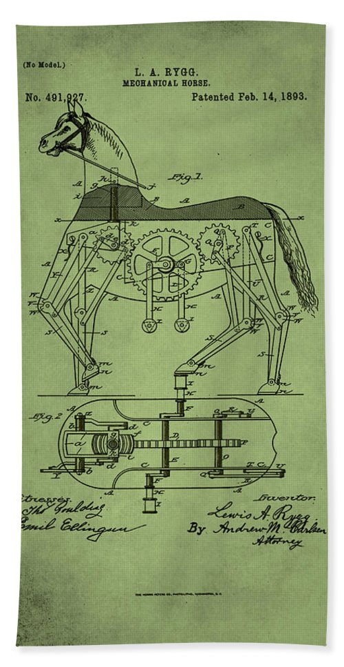 Patent Hand Towel featuring the mixed media Mechanical Horse Patent Art 1p by Brian Reaves