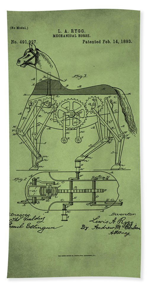 Patent Hand Towel featuring the mixed media Mechanical Horse Patent Art by Brian Reaves