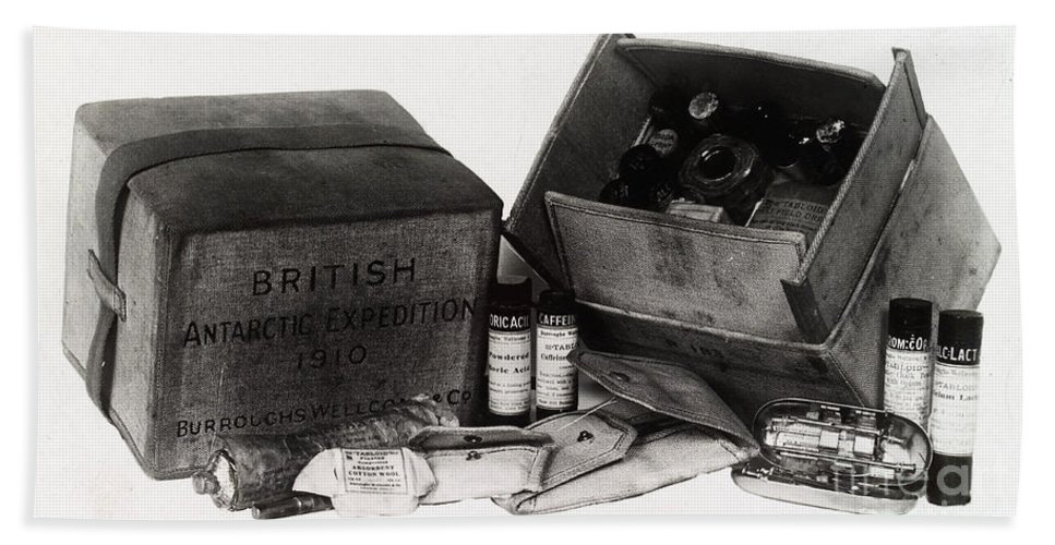Historic Hand Towel featuring the photograph Medicine Chest, Scott Polar Expedition by Wellcome Images