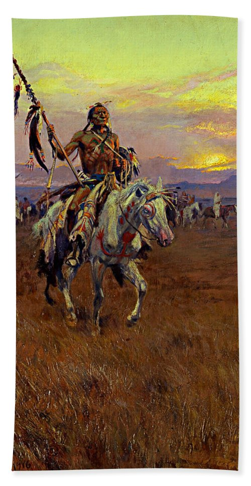 American Artist Bath Towel featuring the painting Medicine Man by Charles Marion Russell