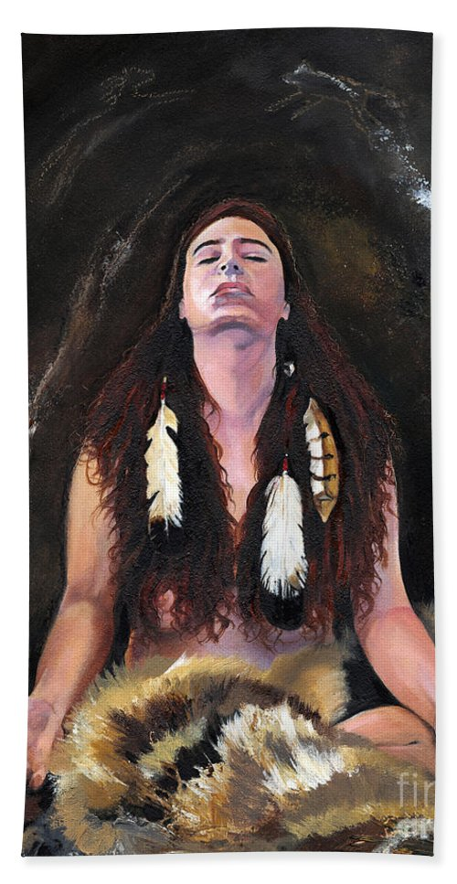 Southwest Art Bath Sheet featuring the painting Medicine Woman by J W Baker