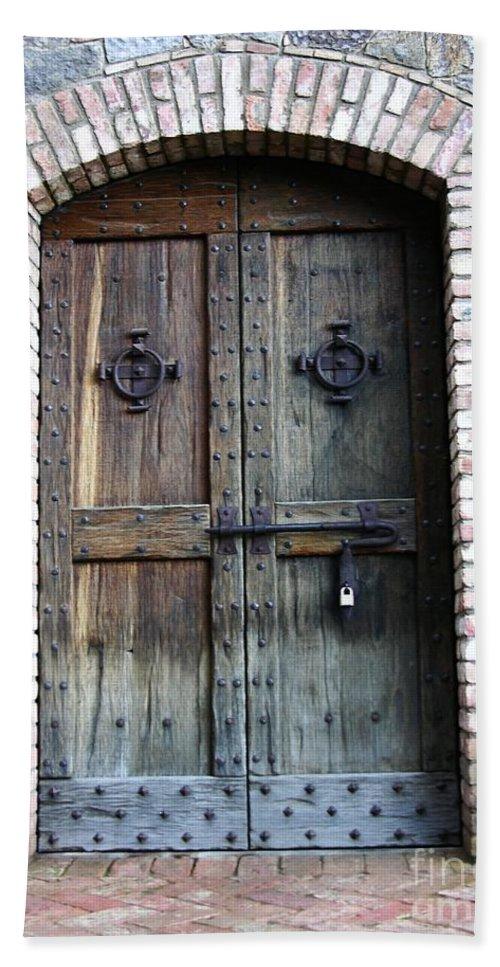 Door Bath Sheet featuring the photograph Medieval Door by Carol Groenen