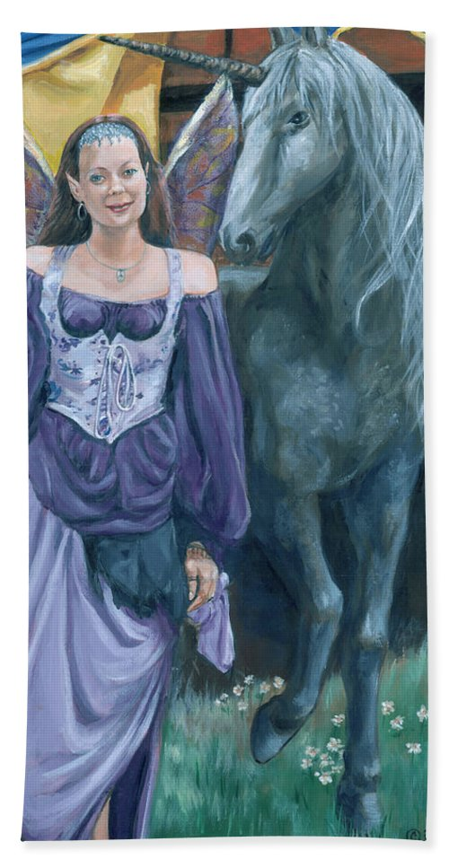 Fairy Faerie Unicorn Dragon Renaissance Festival Bath Sheet featuring the painting Medieval Fantasy by Bryan Bustard