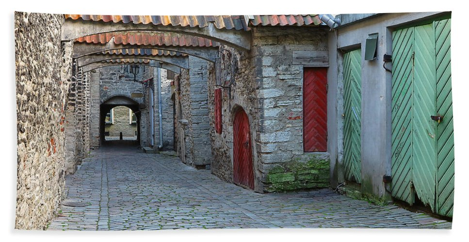 Tallinn Hand Towel featuring the photograph Medieval Lane In Tallinn by Greg Matchick