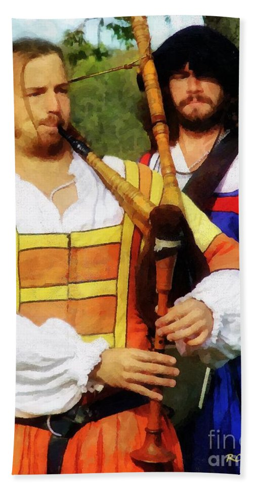 Bagpipe Hand Towel featuring the painting Medieval Minstrels by RC DeWinter