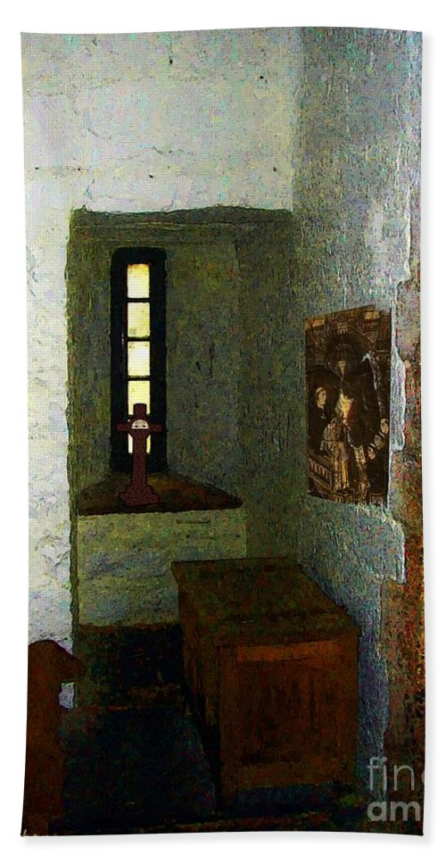 Medieval Bath Sheet featuring the painting Medieval Monastic Cell by RC DeWinter