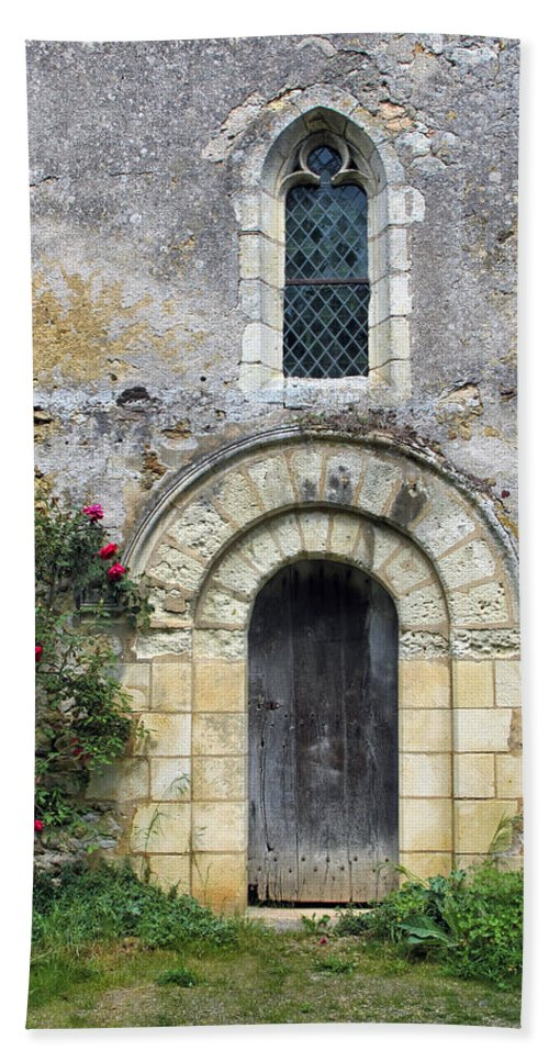 Door Bath Sheet featuring the photograph Medieval Window And Door by Dave Mills
