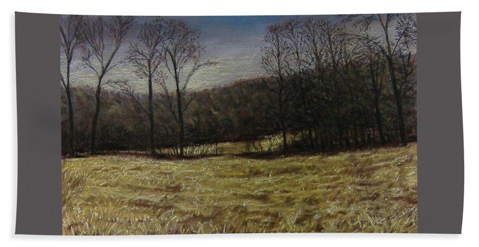 Landscape Bath Sheet featuring the pastel Medina Cornfield by Pat Snook