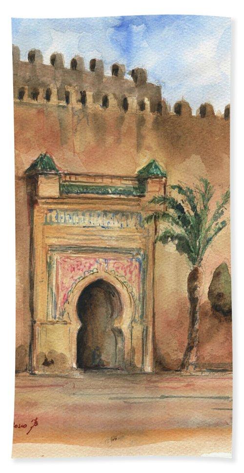Morocco Art Bath Towel featuring the painting Medina Morocco, by Juan Bosco