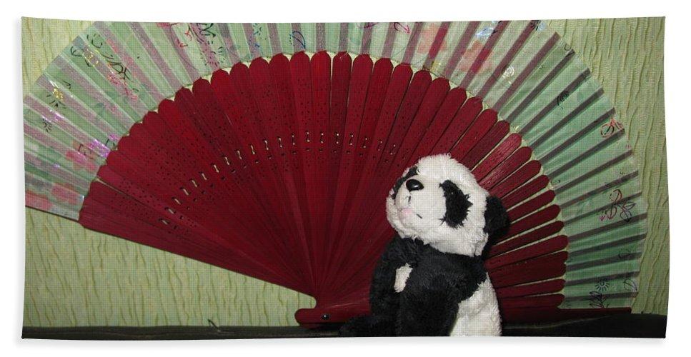 Baby Panda Hand Towel featuring the photograph Meditation Hour by Ausra Huntington nee Paulauskaite