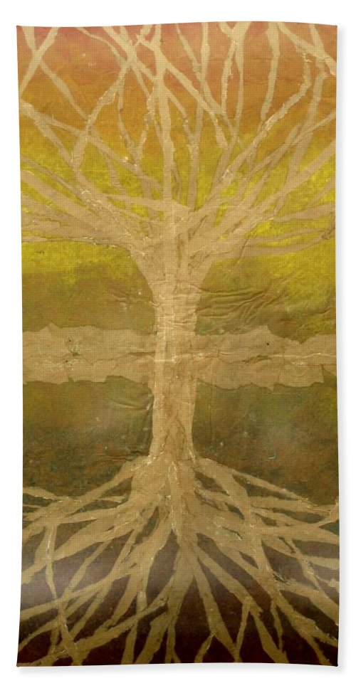 Abstract Hand Towel featuring the painting Meditation by Leah Tomaino