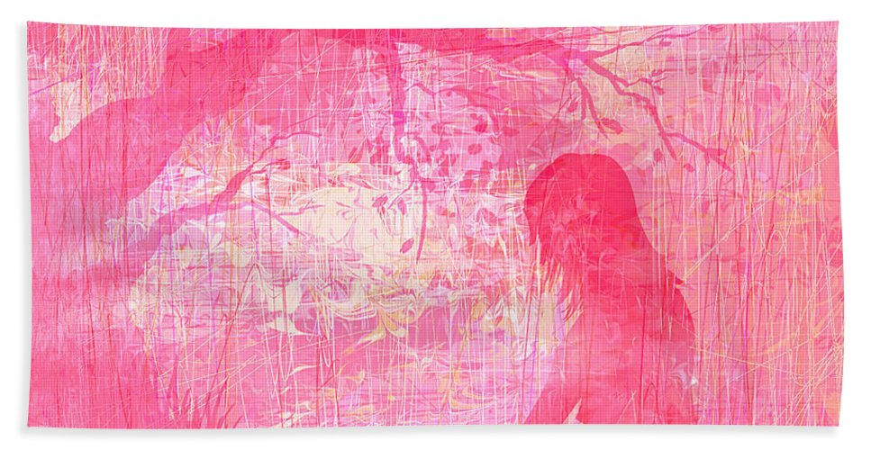 Abstract Bath Sheet featuring the digital art Meditation by Rachel Christine Nowicki