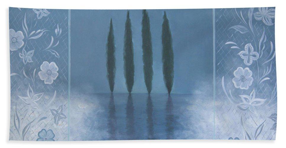 Tone Aanderaa Hand Towel featuring the painting Meditation by Tone Aanderaa