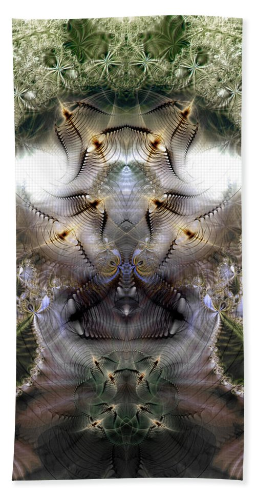Abstract Hand Towel featuring the digital art Meditative Symmetry 5 by Casey Kotas