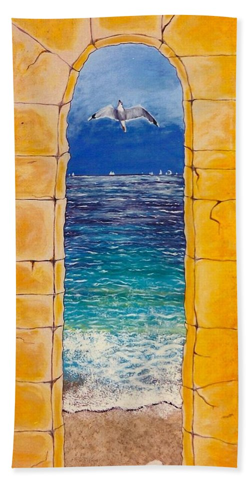 Beach Hand Towel featuring the painting Mediterranean Meditation by V Boge