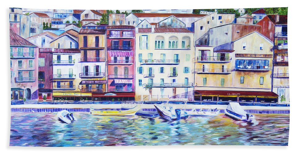 France Bath Sheet featuring the painting Mediterranean Morning by JoAnn DePolo