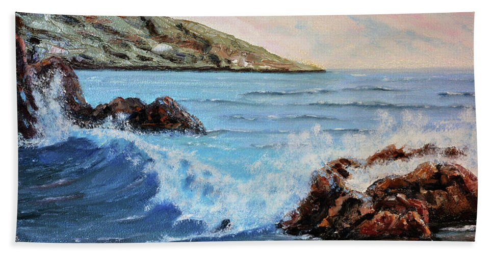 Mediterranean Hand Towel featuring the painting Mediterranean Wave by Rok Lekaj