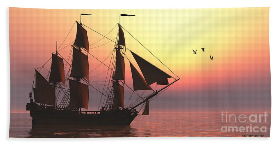 Sailing Bath Sheet featuring the painting Medusa Sailing Ship by Corey Ford