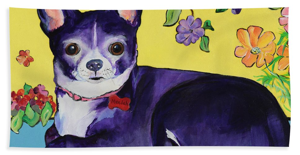 Hand Towel featuring the painting Meelah by Pat Saunders-White