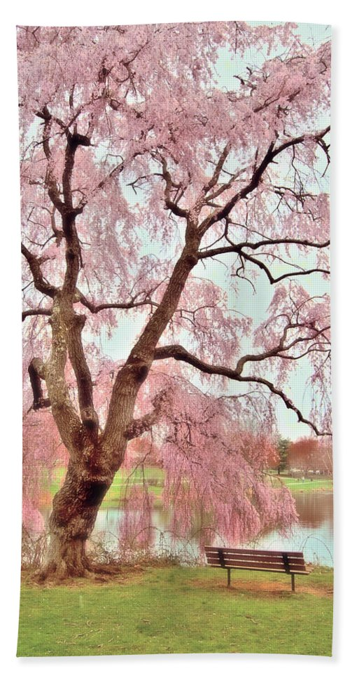 Cherry Blossom Trees Bath Sheet featuring the photograph Meet Me Under The Pink Blooms Beside The Pond - Holmdel Park by Angie Tirado
