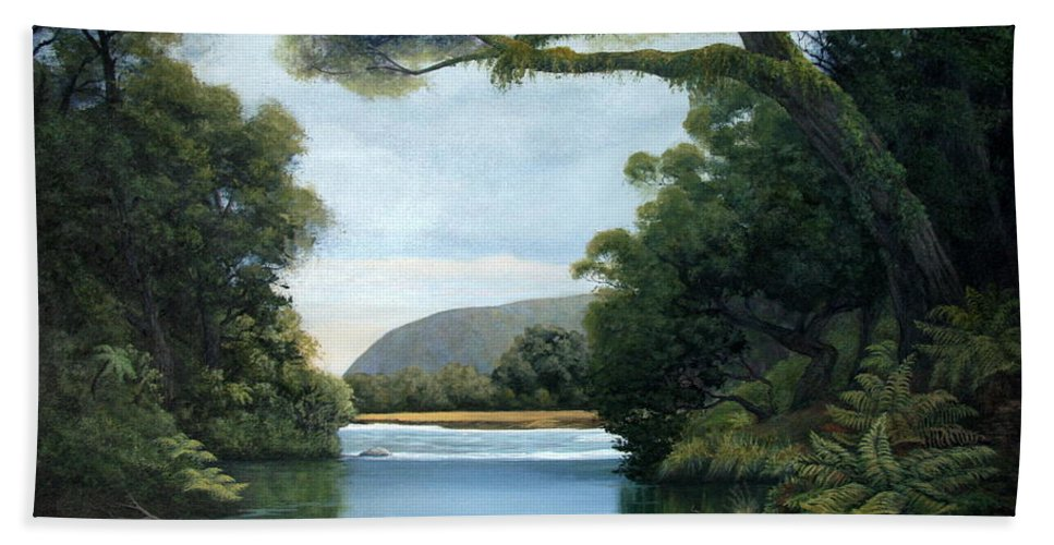 New Zealand Artist Bath Sheet featuring the painting Meeting Of The Waters by Lorna Allan