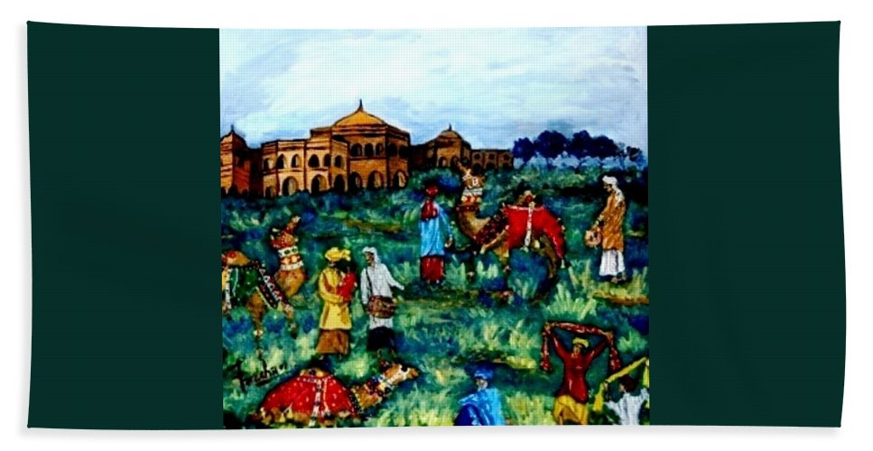 Oil Painting Bath Sheet featuring the painting Mela - Carnival by Fareeha Khawaja