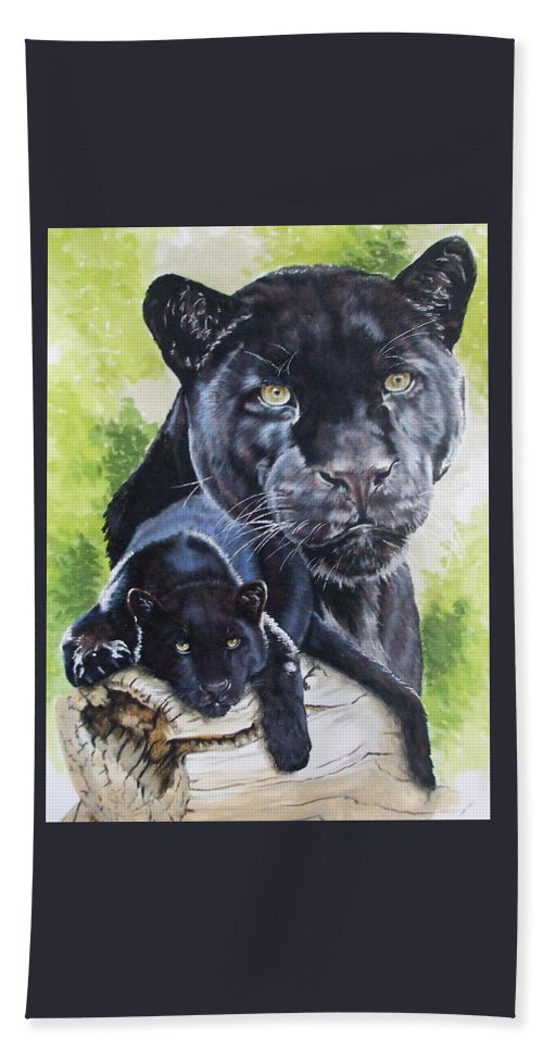 Big Cat Hand Towel featuring the mixed media Melancholy by Barbara Keith