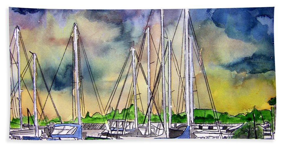Boat Hand Towel featuring the digital art Melbourne Florida Marina by Derek Mccrea