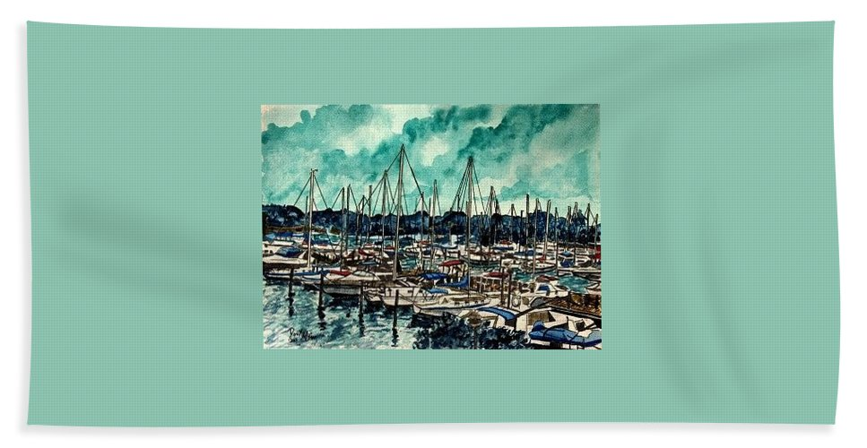 Sailboat Hand Towel featuring the painting Melbourne Florida Sailing Marina by Derek Mccrea