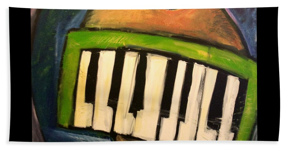 Funny Hand Towel featuring the painting Melodica Mouth by Tim Nyberg