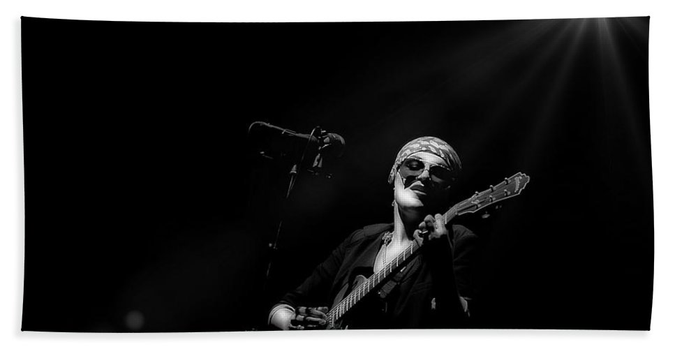 Singer Hand Towel featuring the photograph Melody Gardot Black And White by Jean Francois Gil