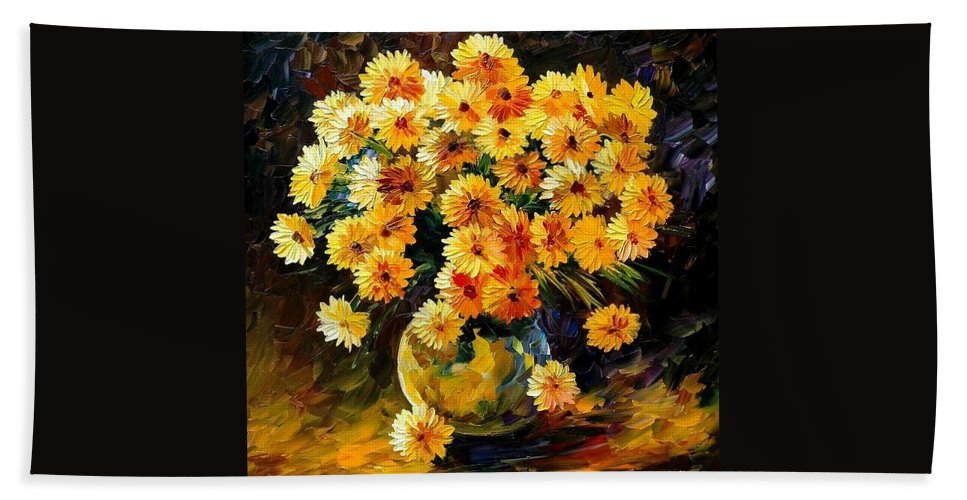 Still Life Bath Towel featuring the painting Melody Of Beauty by Leonid Afremov