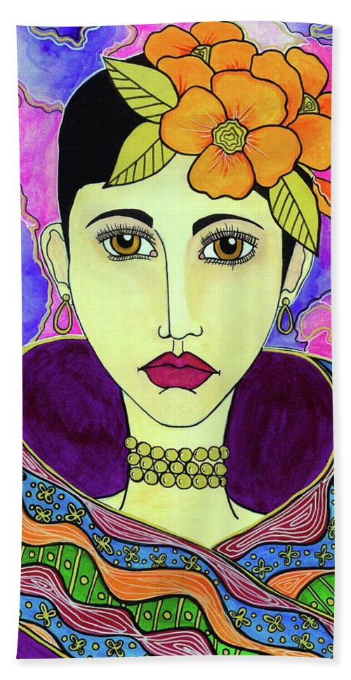 Woman Painting Hand Towel featuring the painting Melora by Sarena Mantz