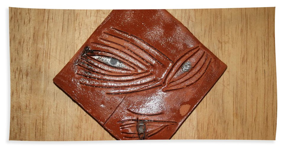 Jesus Hand Towel featuring the ceramic art Melting Eye - Tile by Gloria Ssali