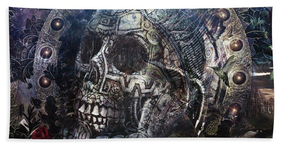 Cameron Gray Bath Towel featuring the digital art Memento Mori by Cameron Gray