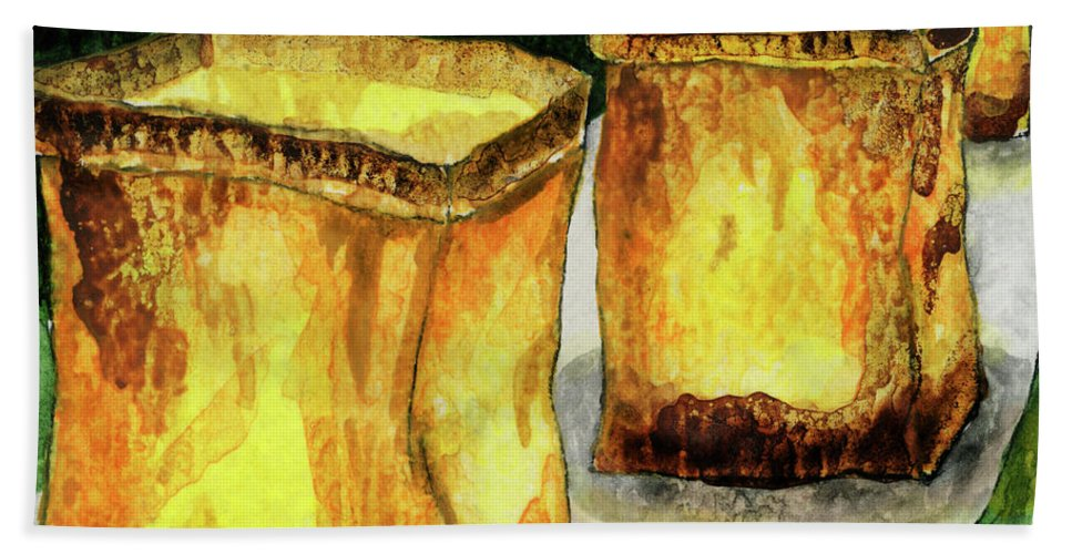 Candle Bath Sheet featuring the painting Memories Luminaria by Miko At The Love Art Shop