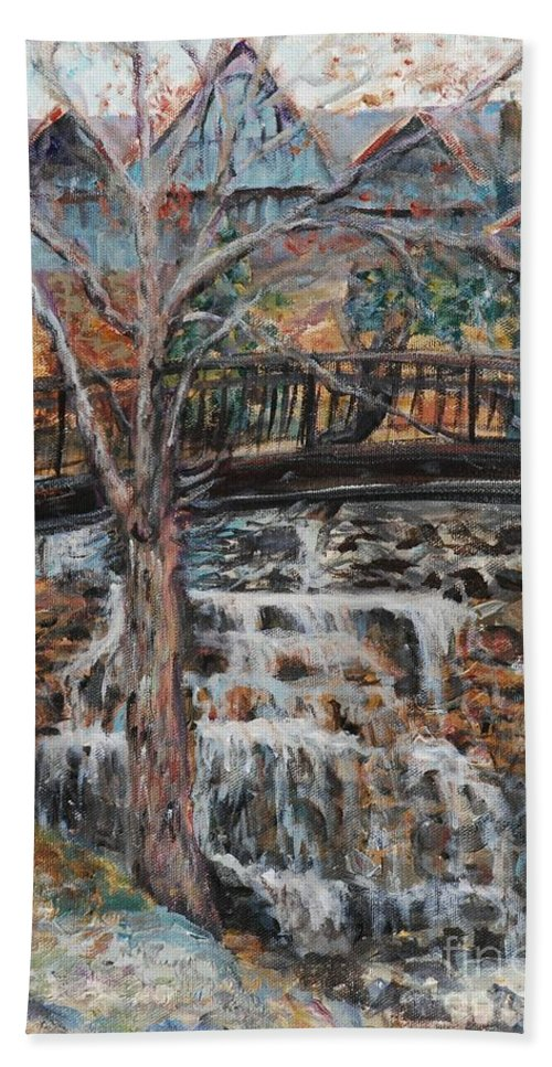 Waterfalls Bath Towel featuring the painting Memories by Nadine Rippelmeyer