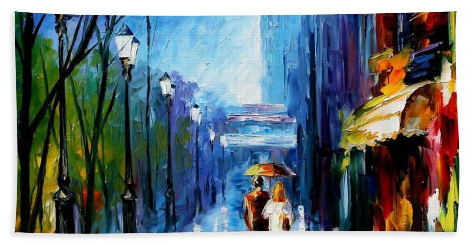 Afremov Bath Sheet featuring the painting Memories Of Paris by Leonid Afremov